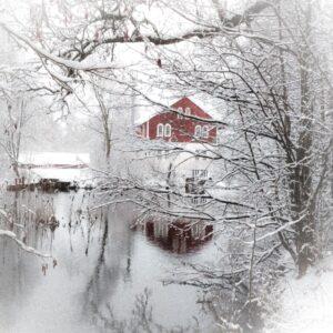 Vinter 2021 i Gunvors Ateljé en trappa upp.